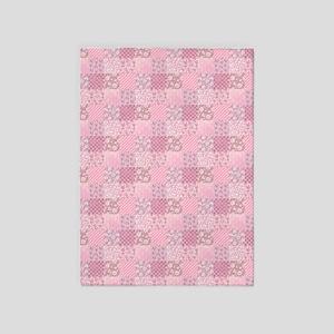 Pink Floral Patchwork 5'x7'Area Rug