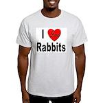 I Love Rabbits (Front) Ash Grey T-Shirt