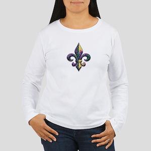 Fleur de lis Mardi Gras beads Women's Long Sleeve