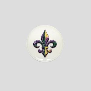 Fleur de lis Mardi Gras beads Mini Button