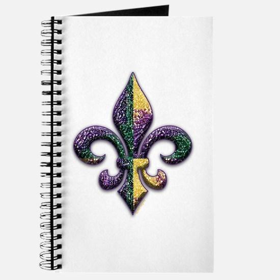 Fleur de lis Mardi Gras beads Journal
