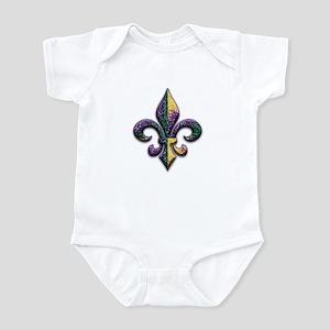 Fleur de lis Mardi Gras beads Infant Bodysuit