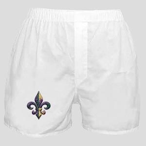 Fleur de lis Mardi Gras beads Boxer Shorts