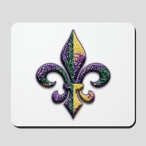 Fleur de lis Mardi Gras beads Mousepad