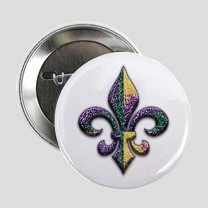 "Fleur de lis Mardi Gras beads 2.25"" Button"