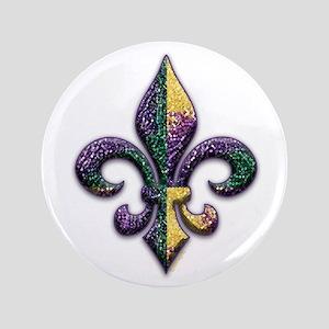 "Fleur de lis Mardi Gras beads 3.5"" Button"