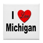 I Love Michigan Tile Coaster