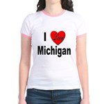 I Love Michigan (Front) Jr. Ringer T-Shirt