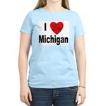 I Love Michigan Women's Pink T-Shirt