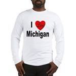 I Love Michigan (Front) Long Sleeve T-Shirt