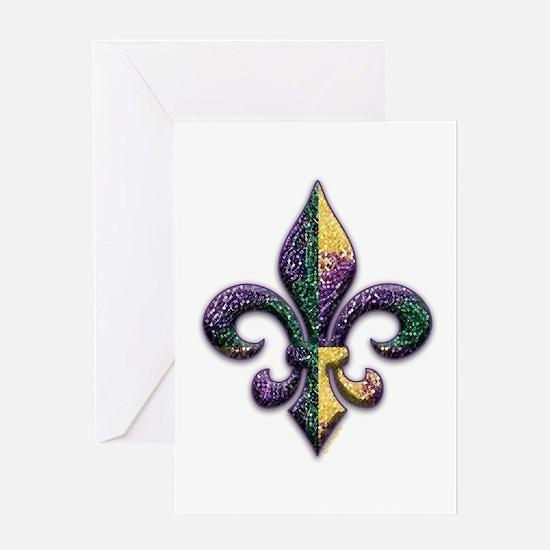 Fleur de lis Mardi Gras beads Greeting Card