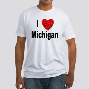 I Love Michigan (Front) Fitted T-Shirt