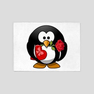 Cute Valentine Love Penguin Cartoon 5'x7'Area Rug