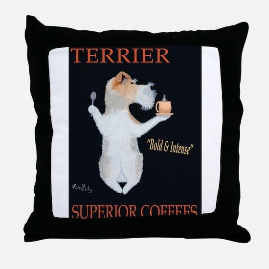 Terrier Superior Coffees Throw Pillow
