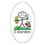 Gardening Stick Figure Sticker (Oval)