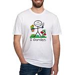 Gardening Stick Figure Fitted T-Shirt