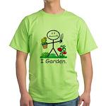 Gardening Stick Figure Green T-Shirt