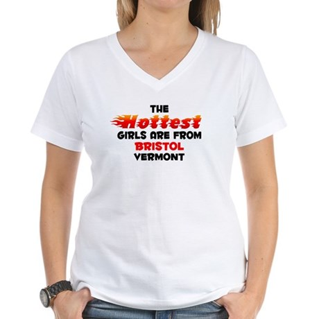 Hot Girls: Bristol, VT Women's V-Neck T-Shirt