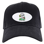 Gardening Stick Figure Black Cap with Patch