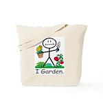 Gardening Stick Figure Tote Bag