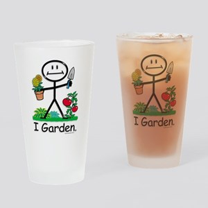 Gardening Stick Figure Drinking Glass