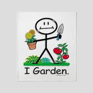 Gardening Stick Figure Throw Blanket