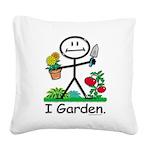Gardening Stick Figure Square Canvas Pillow