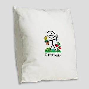Gardening Stick Figure Burlap Throw Pillow
