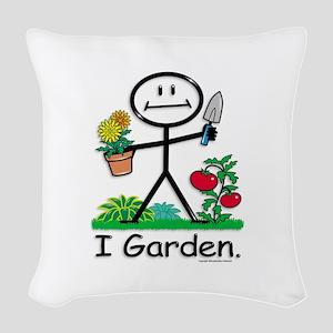 Gardening Stick Figure Woven Throw Pillow