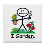 Gardening Stick Figure Tile Coaster