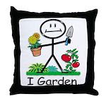 Gardening Stick Figure Throw Pillow