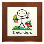 Gardening Stick Figure Framed Tile