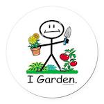 Gardening Stick Figure Round Car Magnet