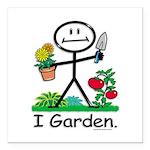 Gardening Stick Figure Square Car Magnet 3