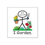 Gardening Stick Figure Square Sticker 3