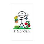 Gardening Stick Figure Sticker (Rectangle 50 pk)
