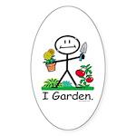 Gardening Stick Figure Sticker (Oval 10 pk)