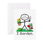 Gardening Stick Figure Greeting Cards (Pk of 10)