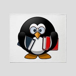 Cute Cartoon Smart Bookworm Penguin Throw Blanket