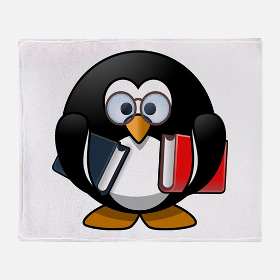 Cute Cartoon Smart Bookworm Penguin Throw Blanket