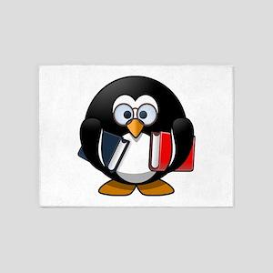Cute Cartoon Smart Bookworm Penguin 5'x7'Area Rug
