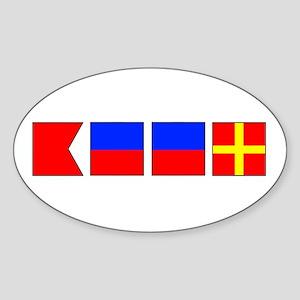 Nautical Flag Alphabet BEER Oval Sticker