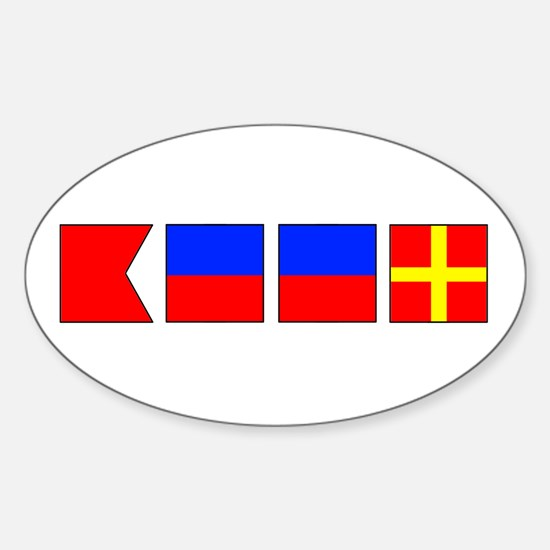 Nautical Flag Alphabet BEER Oval Decal