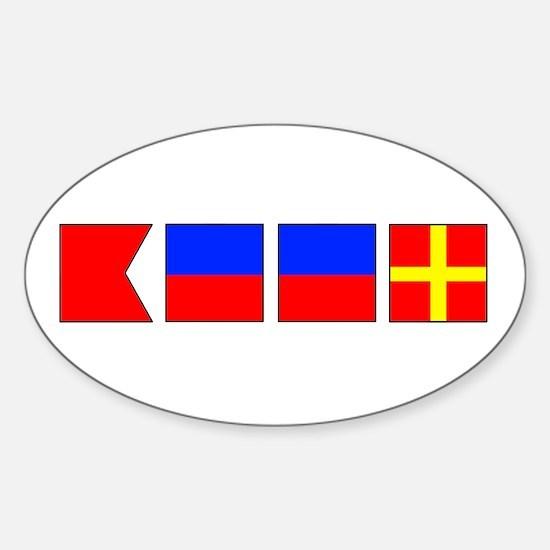 Nautical Flag Alphabet BEER Oval Decal