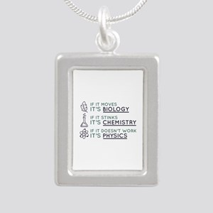 Science Silver Portrait Necklace