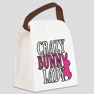 Crazy Bunny Lady Canvas Lunch Bag