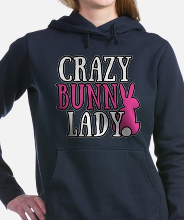 Crazy Bunny Lady Women's Hooded Sweatshirt