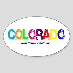 Colorful Colorado Oval Sticker