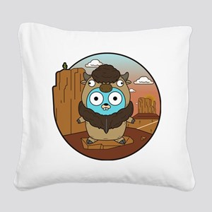 Buffalo Gopher in Desert Square Canvas Pillow