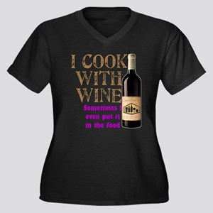 Wine Cook Women's Plus Size V-Neck Dark T-Shirt